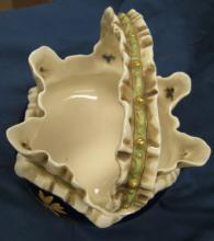 """Lot 65: Antique Chinese Porcelain Basket, 5"""" x 5"""", EC"""