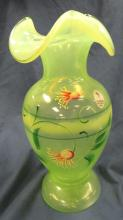 "Lot 55: Fenton Art Glass Hand Painted Vaseline Opalescent Carnival Vase, 8 1/2""H, EC"