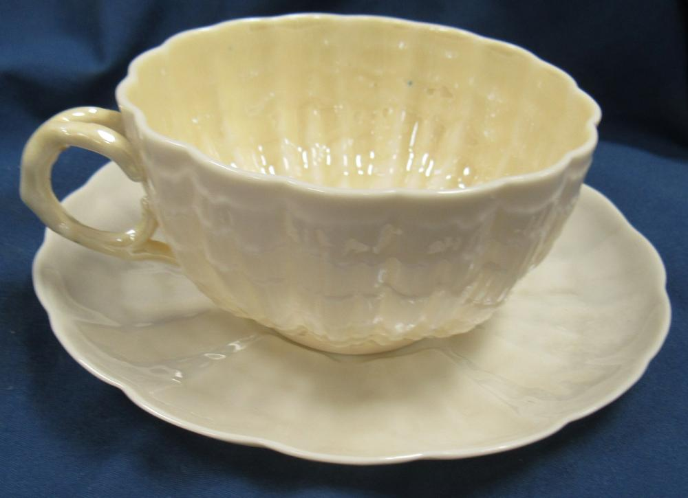 Vintage Irish Belleek Limpet Shell Design, First Mark 1856-1891, Cup and Saucer, EC