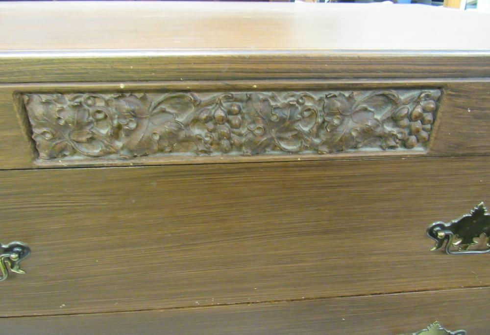 "Lot 97: Carved Crest Five Drawer Dresser, 20 x 33 1/2"" x 48""H, All Responsibility for Shipping will be the Successful Bidder. You must arrange for pickup directly or by a shipper within 7 days after sale."
