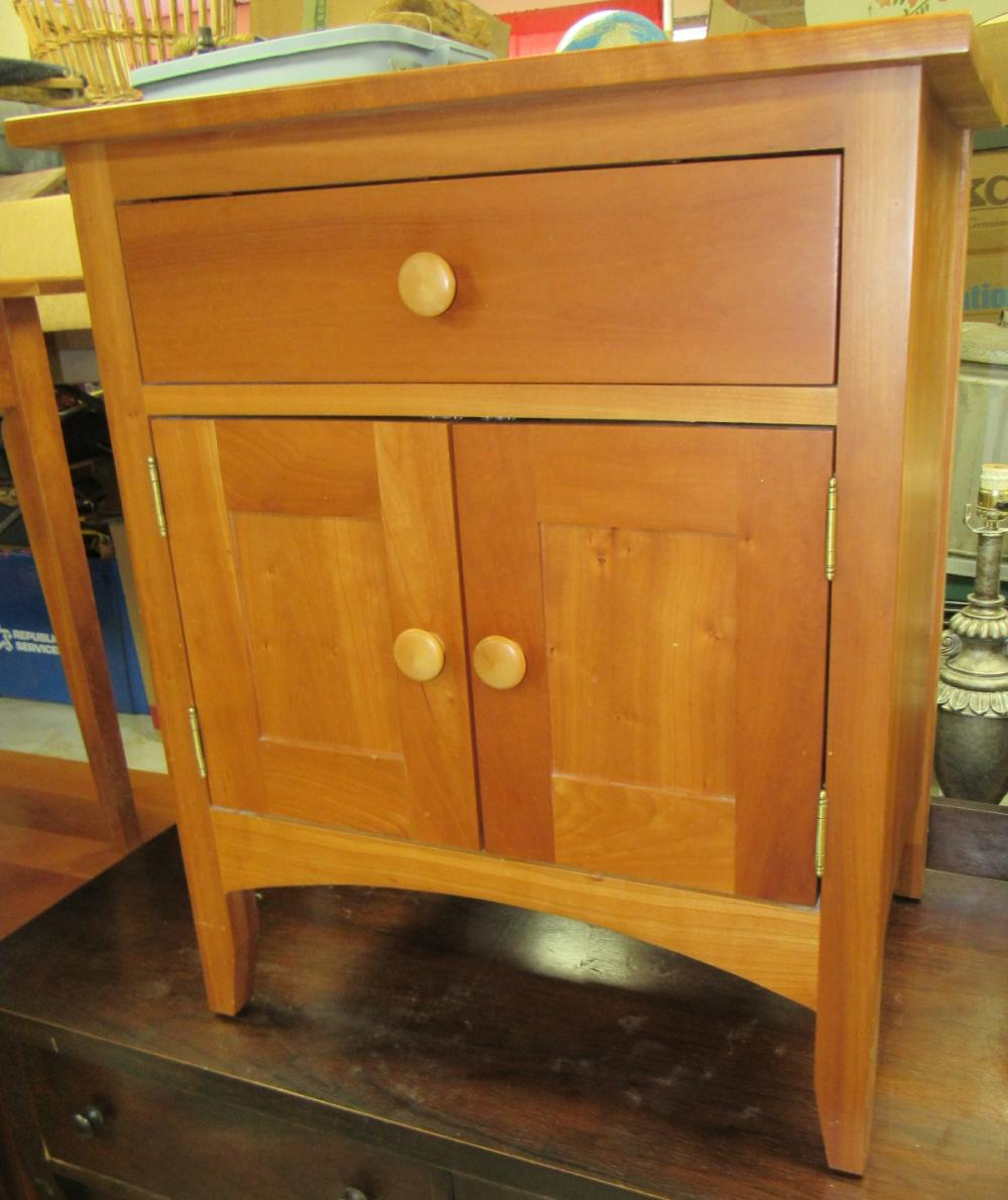 """Amish Made Cherry Cabinet with Drawer, 24 1/2"""" x 17"""" x 29""""H ,All Responsibility for Shipping will be the Successful Bidder. You must arrange for pickup directly or by a shipper within 7 days after sale."""