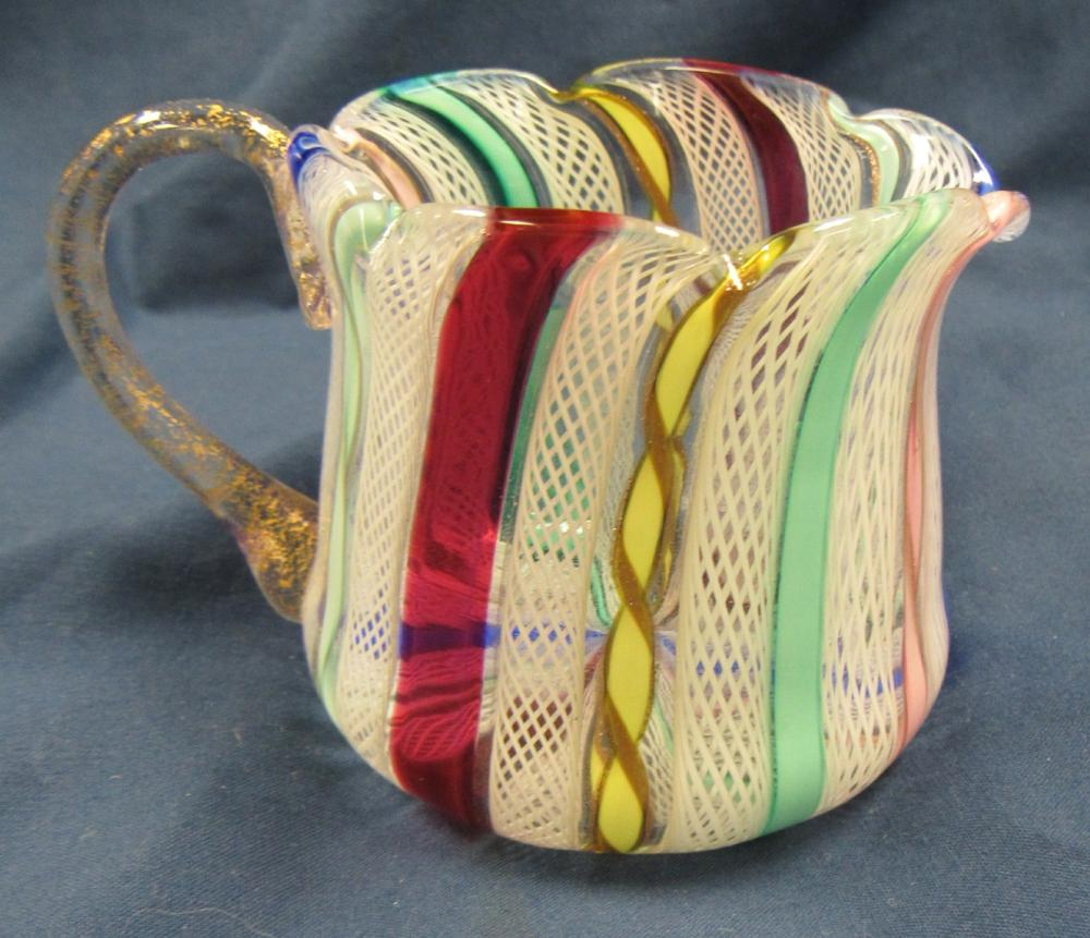 "Lot 35: Ribbon Twist Multi-Color Glass Creamer Small Pitcher, 2 1/2"" Dia x 2 1/4""H, EC"