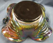 Lot 175: 7 1/2 Inch Vintage Fenton Carnival Glass Double Swan 2 Handle Bowl, EC