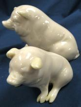 "Lot 155: Two Charming Vintage Beleek Pig Figurine Luster Accents Green Mark Porcelain, 4""L x 3""/2 1/2"" x 2""H, EC"