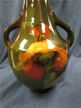 "Lot 165: Roseville or Weller Pottery Louwelsa Yellow Wild Floral Vase, 13""H x 5 1/2""Dia., Top Looks like repaired but EC"