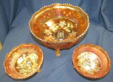 """Lot 87: Fenton Marigold Butterfly and Master Berry Carnival Glass Footed Bowl Set. 8"""" dia and Two 4 1/2"""" Dia., EC"""