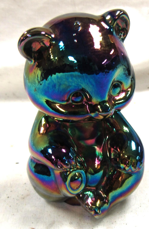 """Fenton Amethyst Carnival Glass Bear Figurine, 3 1/2""""H, EC"""