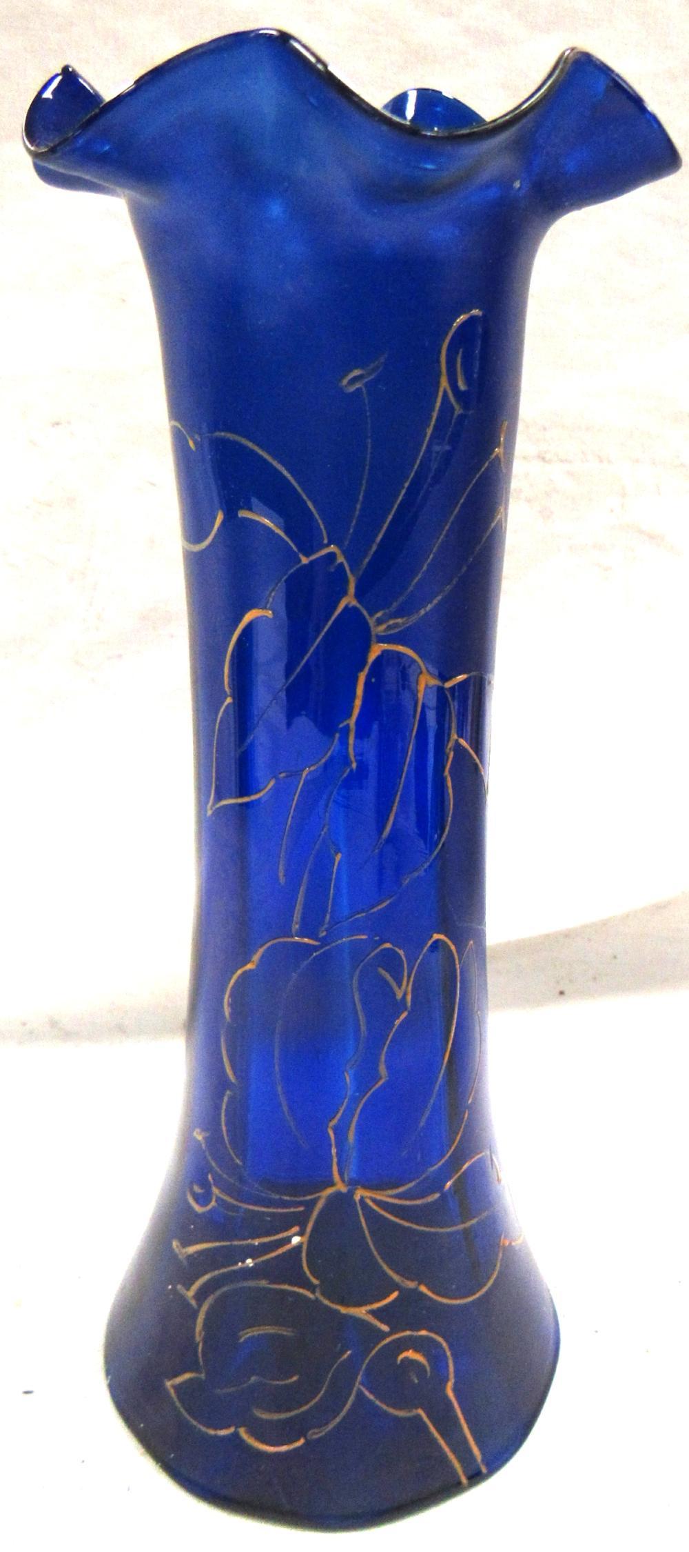 """Cobalt Blue Czech Bohemian Art Glass Hand Painted Gold Enamel Floral Vase , 8""""H, EC"""