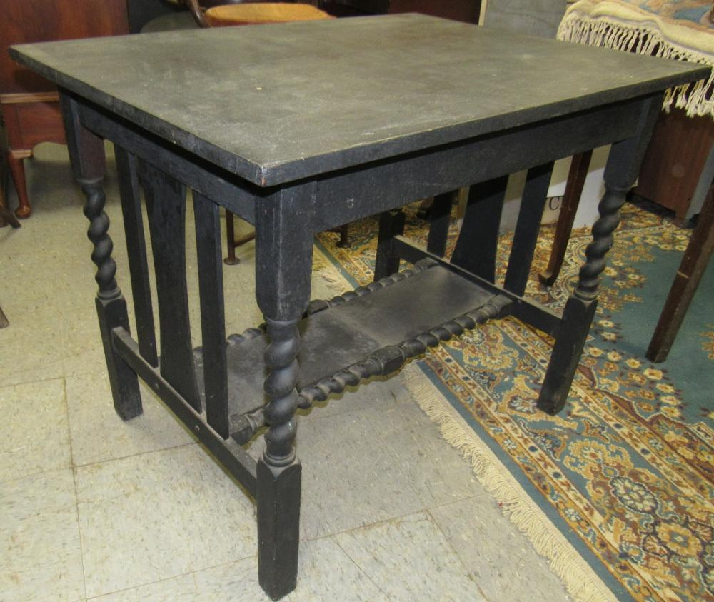 """Arts and Craft Solid Oak Table Painted Black, 29""""H x 26 1/4"""" x 36"""",  All Responsibility for Shipping will be the Successful Bidder. You must arrange for pickup directly or by a shipper within 7 days after sale."""