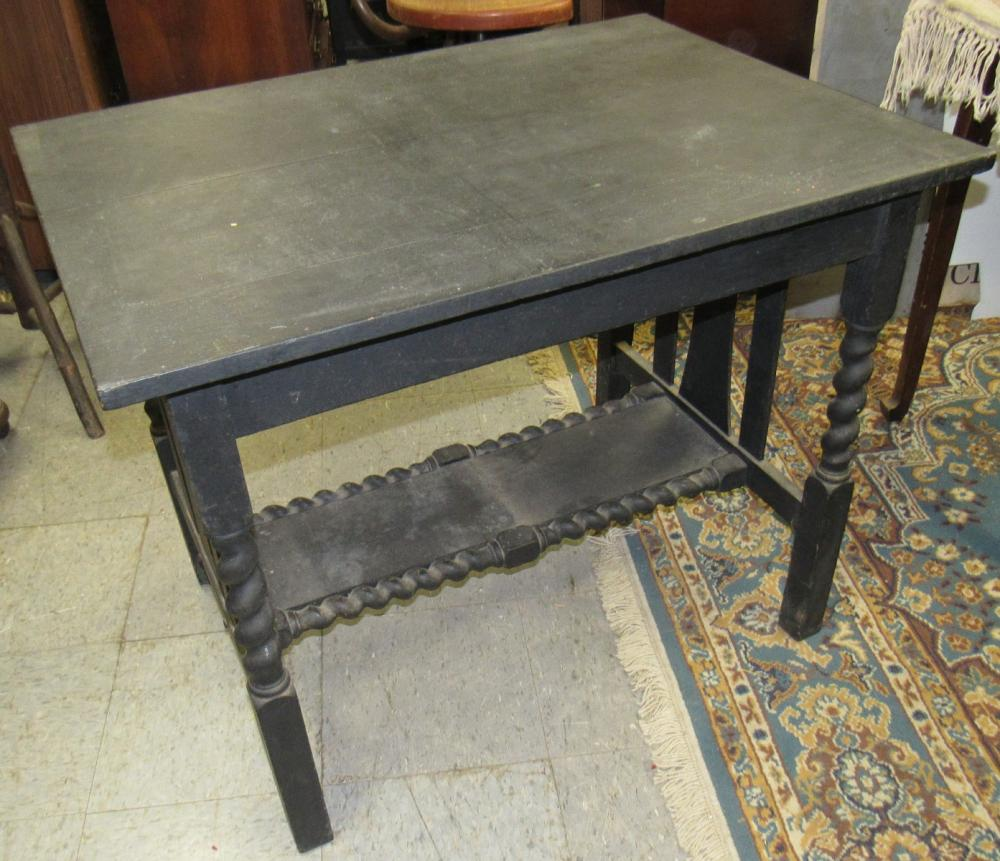 """Lot 57: Arts and Craft Solid Oak Table Painted Black, 29""""H x 26 1/4"""" x 36"""", All Responsibility for Shipping will be the Successful Bidder. You must arrange for pickup directly or by a shipper within 7 days after sale."""