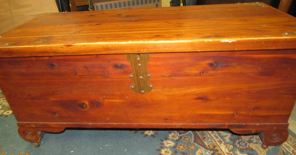 "Lot 67: E.R.Co.. forest park line cedar chest, 40"" x 18 1/2"" x 17 3/4""H, All Responsibility for Shipping will be the Successful Bidder. You must arrange for pickup directly or by a shipper within 7 days after sale."