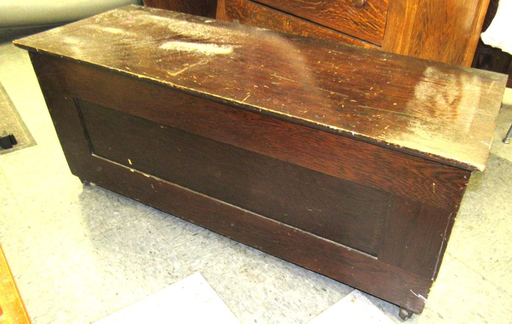 "Lot 86: Antique Panel Sided Blanket Chest, 47"" x 18"" x 19 1/2""H, Oak, All Responsibility for Shipping will be the Successful Bidder. You must arrange for pickup directly or by a shipper within 7 days after sale."