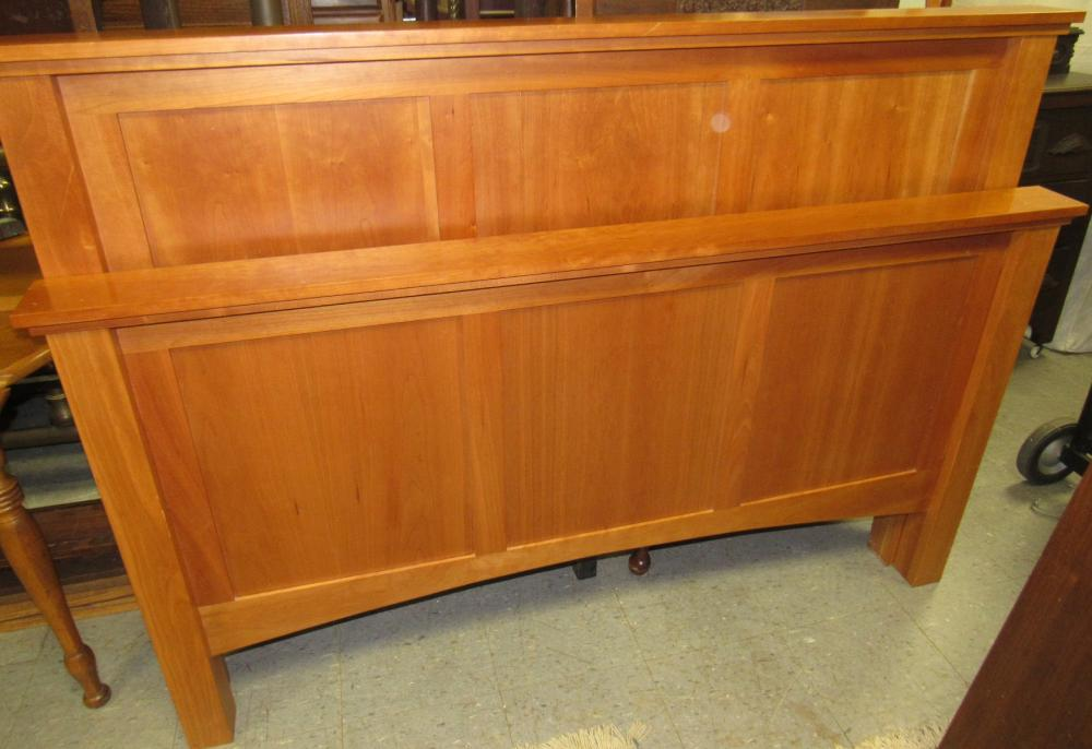 """Lot 147: Amish Made Cherry Bed, Side Rails complete with Mattress and Boxspring (Which Is Given to You), 66"""" x 49"""" Backboard, 81"""" Long, All Responsibility for Shipping will be the Successful Bidder. You must arrange shipper within 7 days after sale."""