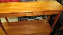 """Lot 157: Amish Made Cherry Two Drawer Wall/Couch Table, 16"""" x 49 1/2"""" x 27""""H, All Responsibility for Shipping will be the Successful Bidder. You must arrange for pickup directly or by a shipper within 7 days after sale."""