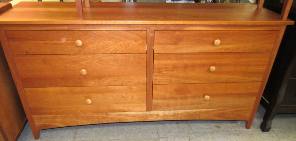 """Amish Made Cherry Six Drawer Dresser, 19"""" x 65 1/2"""" x 33""""H, All Responsibility for Shipping will be the Successful Bidder. You must arrange for pickup directly or by a shipper within 7 days after sale."""