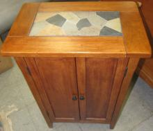 """Lot 177: Amish Made Cherry Inlaid Top Two Door Cabinet, 22"""" x 14"""" x 34""""H, All Responsibility for Shipping will be the Successful Bidder. You must arrange for pickup directly or by a shipper within 7 days after sale."""