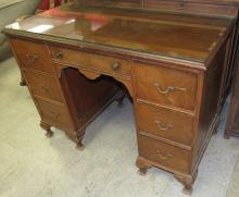 """Lot 182: Vintage Double Pedestal Desk with Glass Top, 20 1/2"""" x 41"""" x 30""""H, All Responsibility for Shipping will be the Successful Bidder. You must arrange for pickup directly or by a shipper within 7 days after sale."""