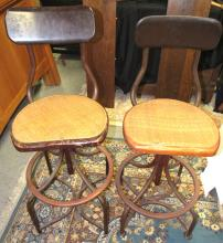 Lot 42: Pair of Antique Wicker Seat Wooden Clerk Stools, All Responsibility for Shipping will be the Successful Bidder. You must arrange for pickup directly or by a shipper within 7 days after sale.