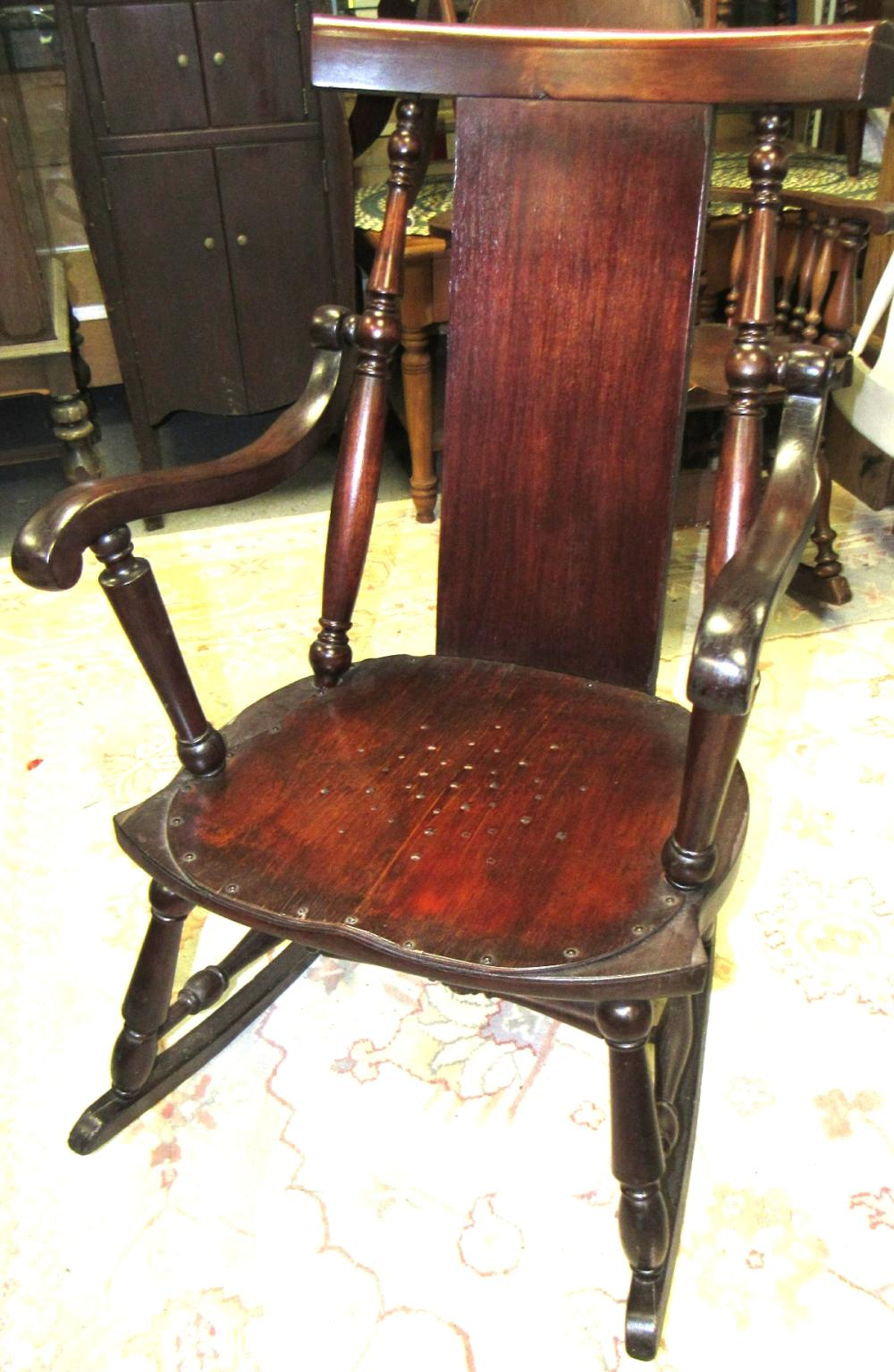 Antique Rocker with Arms, All Responsibility for Shipping will be the Successful Bidder. You must arrange for pickup directly or by a shipper within 7 days after sale.