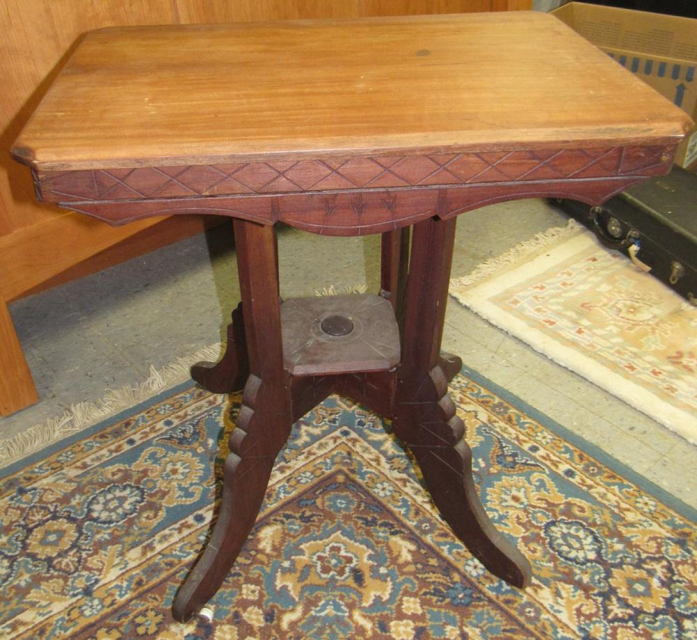 Lot 72: 1800's Victorian Parlor Table, 18 x 26 x 28H, All Responsibility for Shipping will be the Successful Bidder. You must arrange for pickup directly or by a shipper within 7 days after sale.