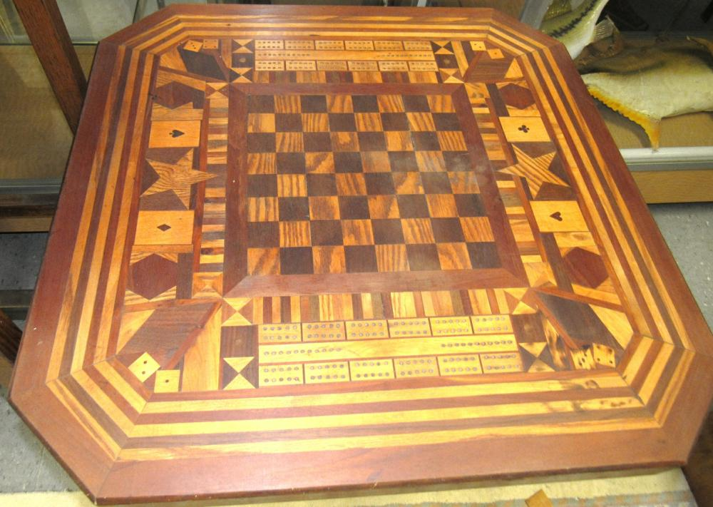 "Lot 82: Hand Inlaid Game Table with Storage Base, 29 1/4"" Sq. x 19""H, All Responsibility for Shipping will be the Successful Bidder. You must arrange for pickup directly or by a shipper within 7 days after sale."