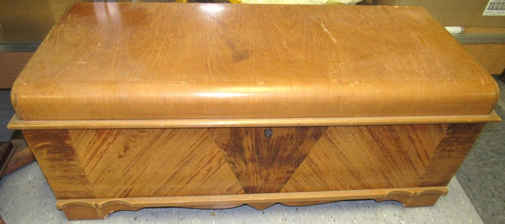 Lot 102: 1940s Cavalier Art Deco Waterfall Cedar Chest Removed Blanket Top Box, 43 x 17 x 19H, All Responsibility for Shipping will be the Successful Bidder. You must arrange for pickup directly or by a shipper within 7 days after sale.