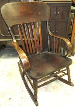 Lot 162: Antique Oak Rocker, All Responsibility for Shipping will be the Successful Bidder. You must arrange for pickup directly or by a shipper within 7 days after sale.