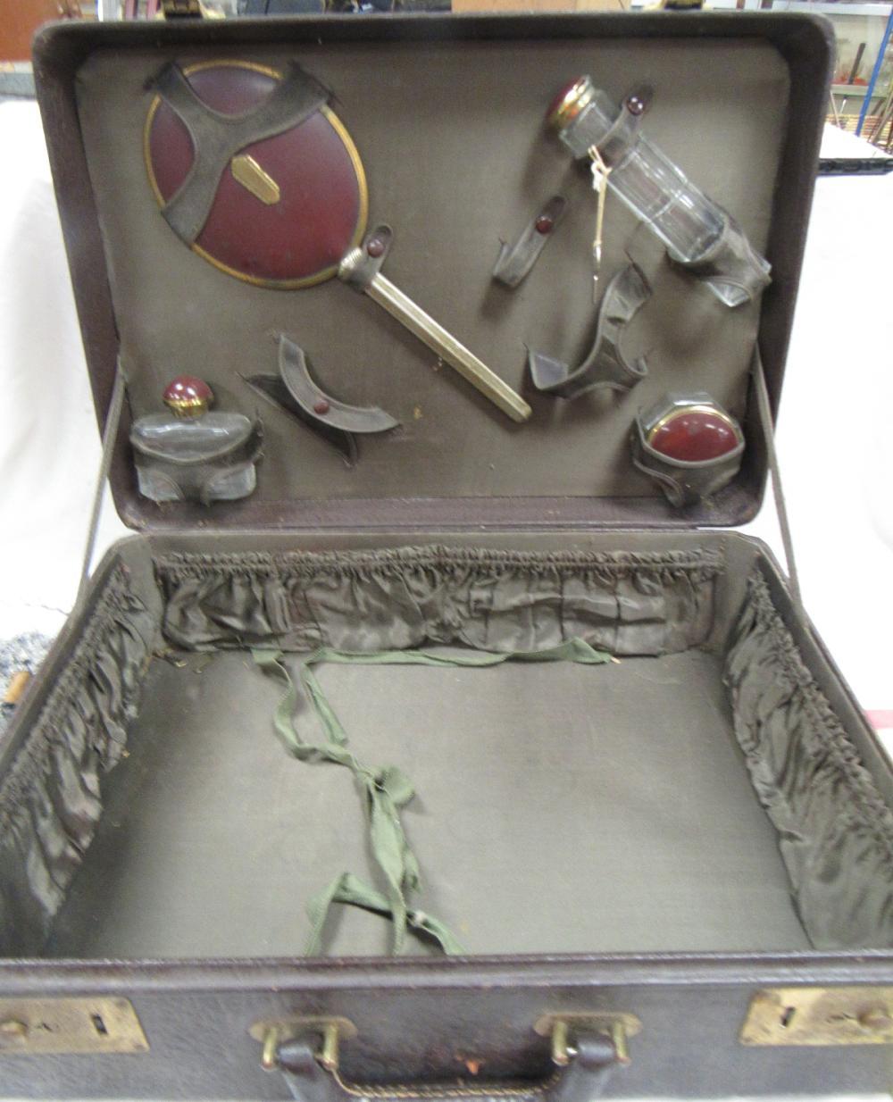 RARE Antique Cosmetic Suitcase with Accessories, EC