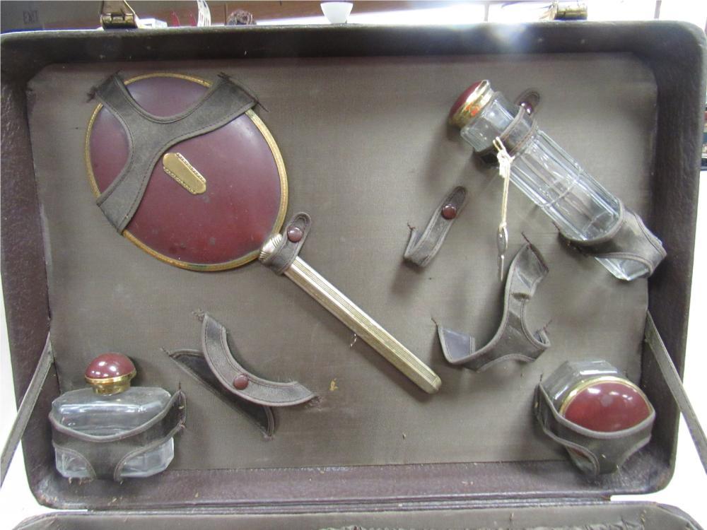 Lot 6: RARE Antique Cosmetic Suitcase with Accessories, EC