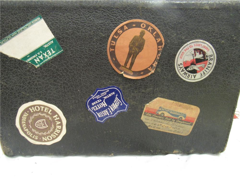 Lot 16: Vintage Traveling Suitcase with Many Traveling Labels, EC