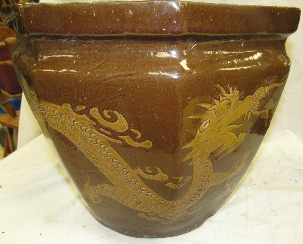 "Vintage Chinese Dragon Bowl Jardiniere Planter Oriental Pottery Pot , 13"" x 11"", EC"