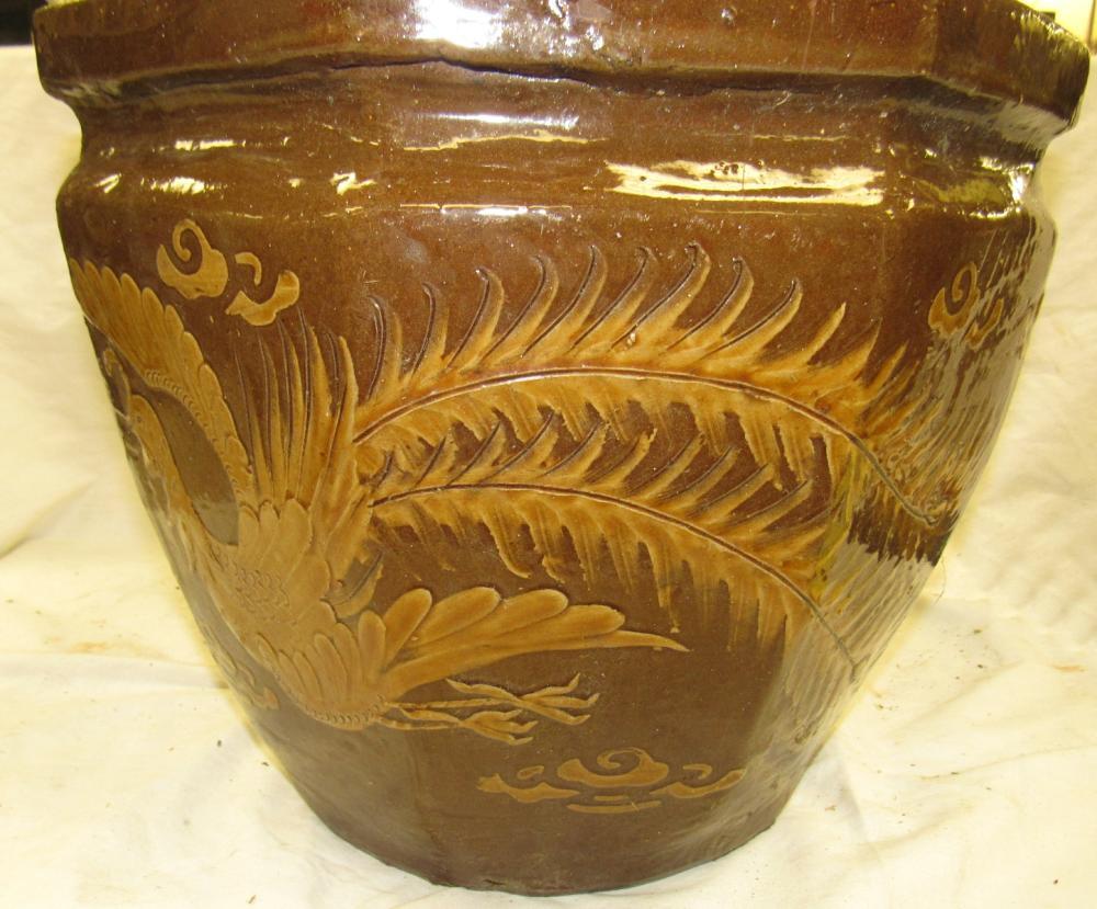 "Lot 26: Vintage Chinese Dragon Bowl Jardiniere Planter Oriental Pottery Pot , 13"" x 11"", EC"