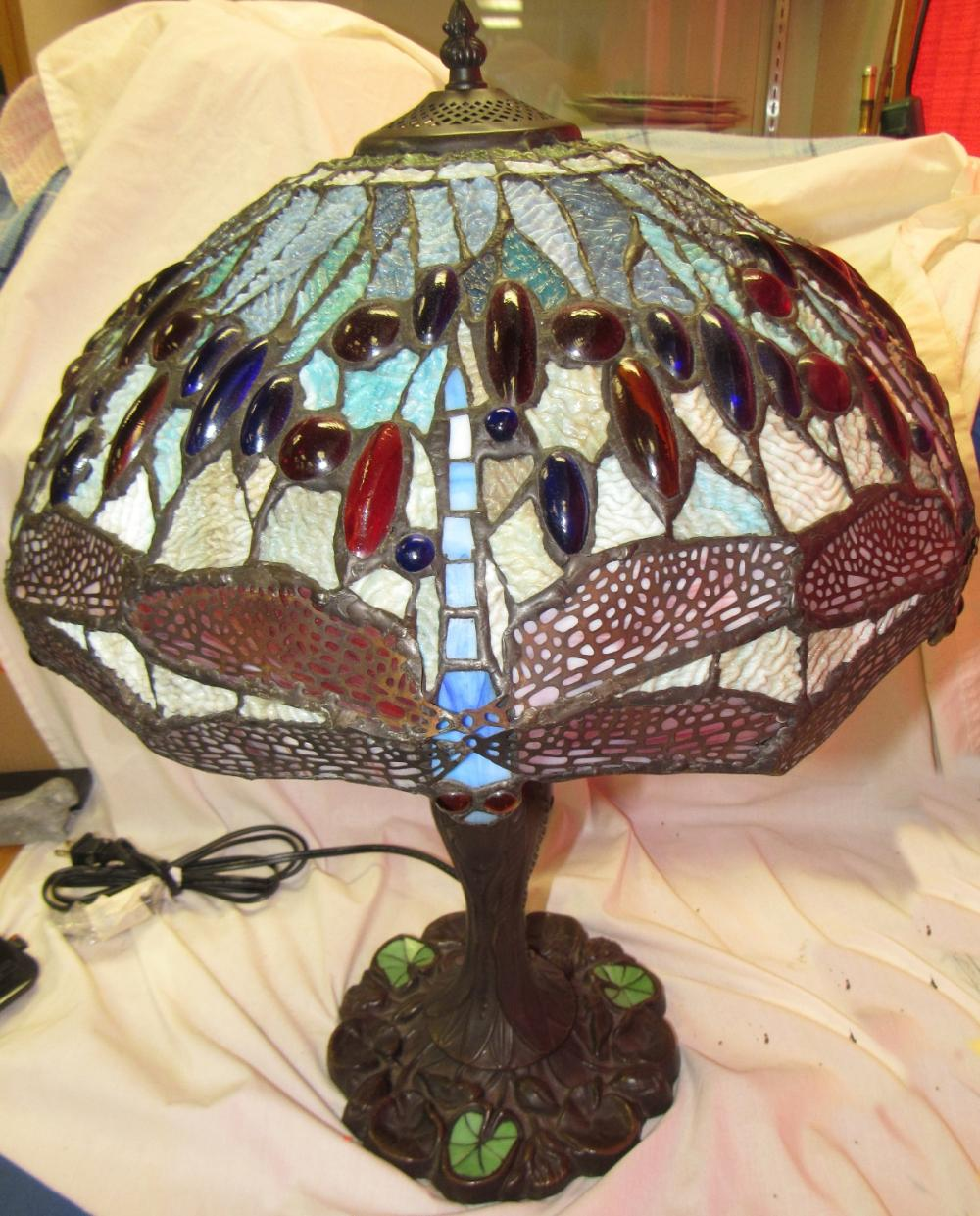 Large Dragonfly Tiffany Style Lamp. EC