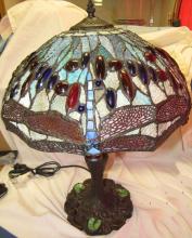 Lot 132: Large Dragonfly Tiffany Style Lamp. EC