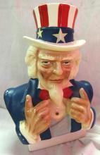 Lot 36: Uncle Sam Bank Ceramic Head Bust Red White Blue Patriotic Piggy Bank USA Vintage, EC