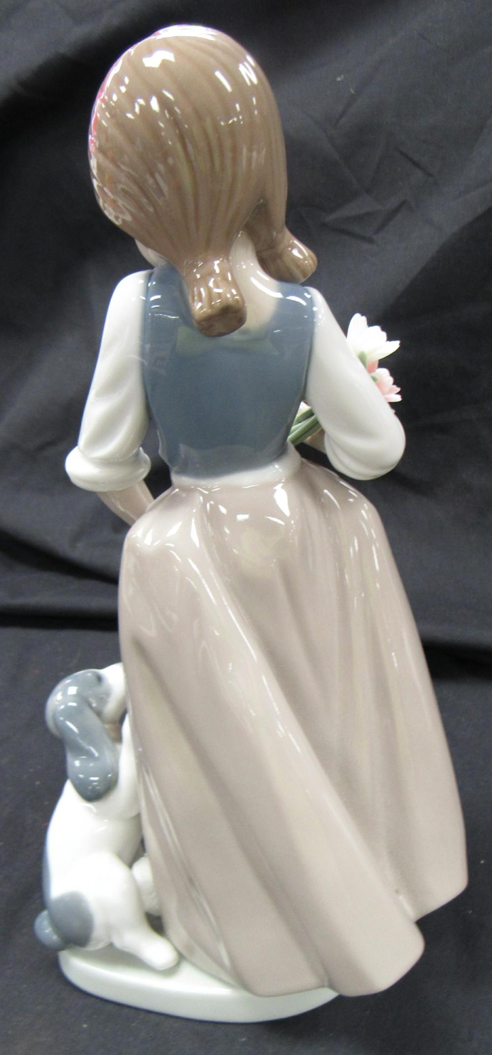 """Lot 63: NAO Figurine, How About Me?-Girl With Flowers And Dog ,9 1/4""""H, EC"""