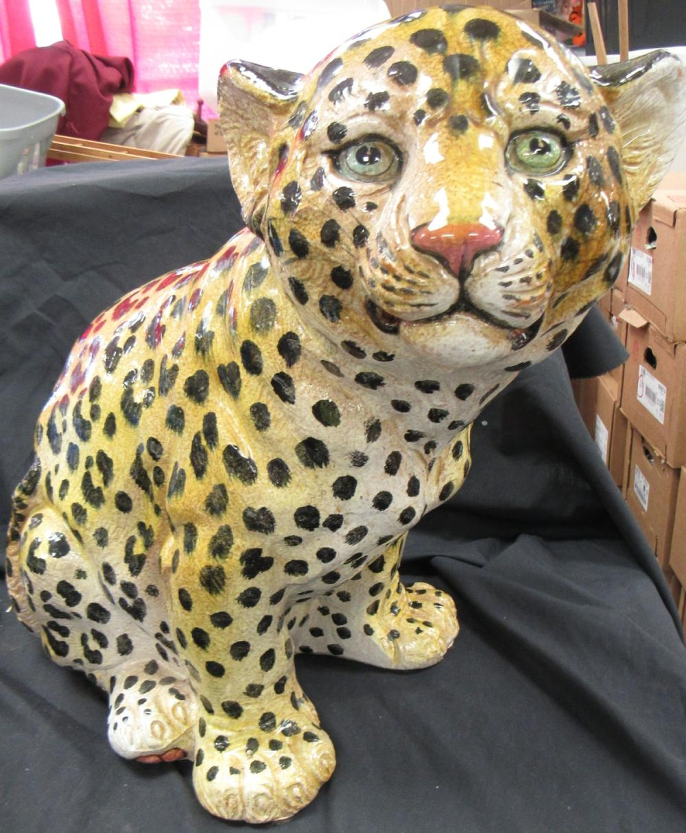 """Leopard Ceramic Figurine Hand Painted Made in Italy, 17""""H x 17"""" Long, EC"""