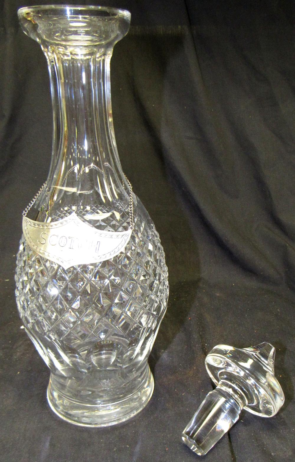 "Lot 133: Waterford Irish Crystal Colleen Decanter with Stopper with Sterling Scotch Liqueur Label 800 Silver, 13 1/2""H, EC"