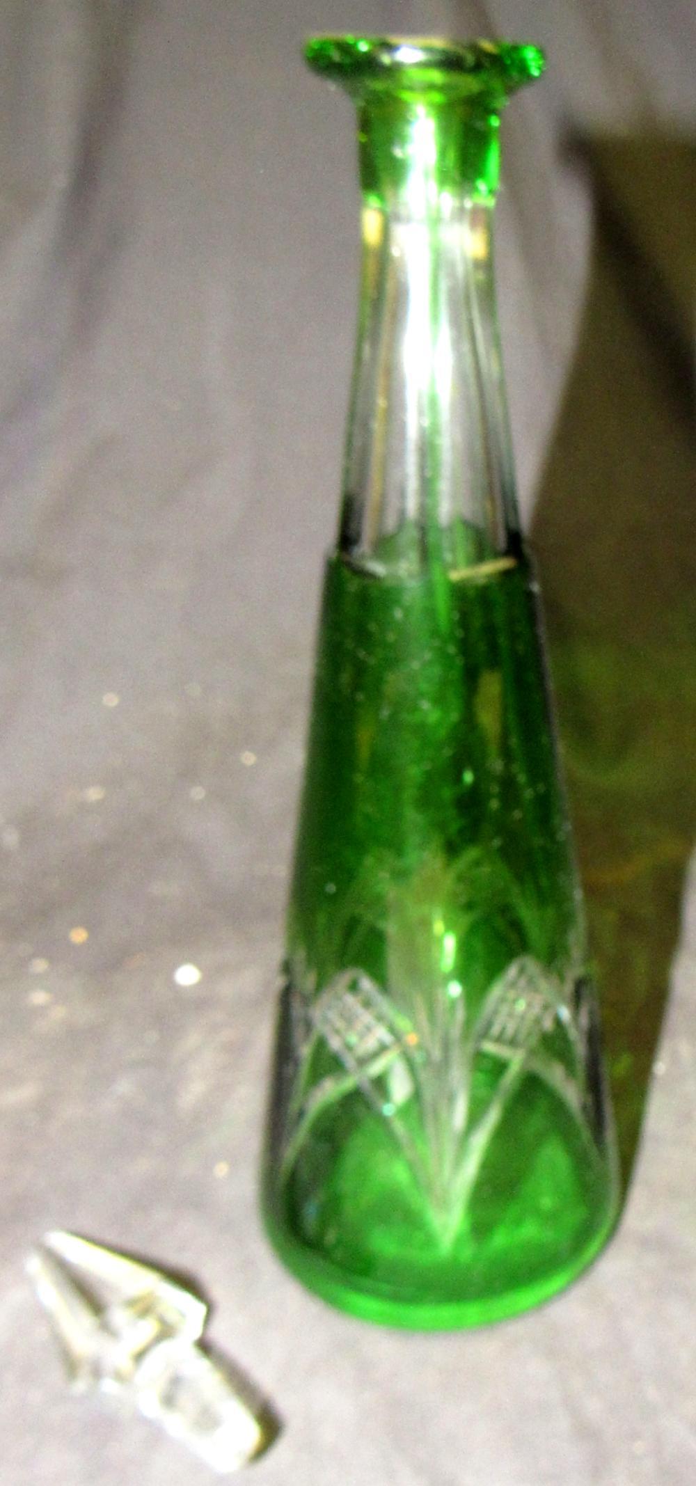 "Lot 143: Bohemium Green Cut to Clear Decanter. 10 3/4""H, EC"