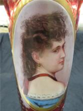 """Lot 146: Antique Victorian Bohemium Cranberry Glass Gold Painted with Lady Cameo, 15""""H, EC Some Gold Worn"""