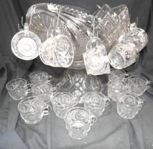 """Lot 148: Vintage McKee Whirling Star Punch Bowl 13"""" Dia x 14""""H with 23 Cups, EC"""