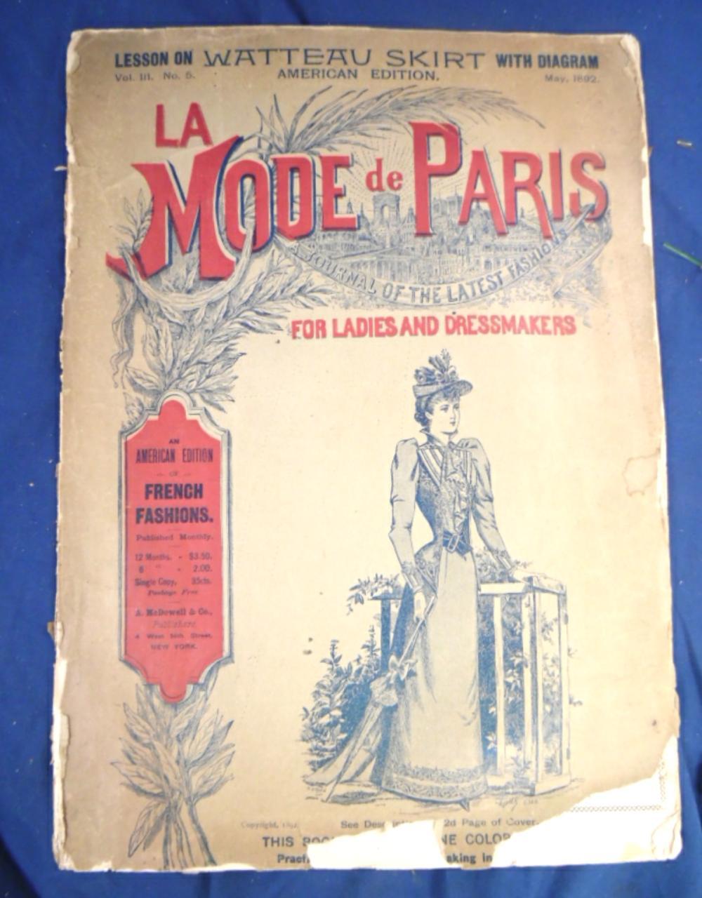 1892 La Mode De Paris Lady's Fashions, 15 Pages, VGC to EX