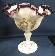 "Lot 93: Fenton Milk Glass Purple Amethyst Crest Ruffled Edge Pedestal Candy Dish, Hand Painted, Artist Signed, 6 1/2"" x 6 1/4"", EC"