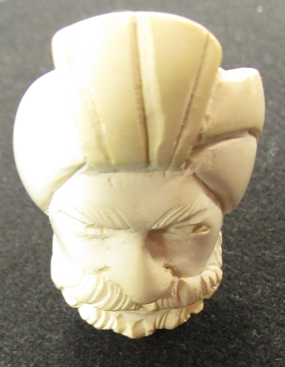"Lot 78: Meerschaum Smoking Pipe with Sultan Turbaned Figural, 5"" Long, EC"