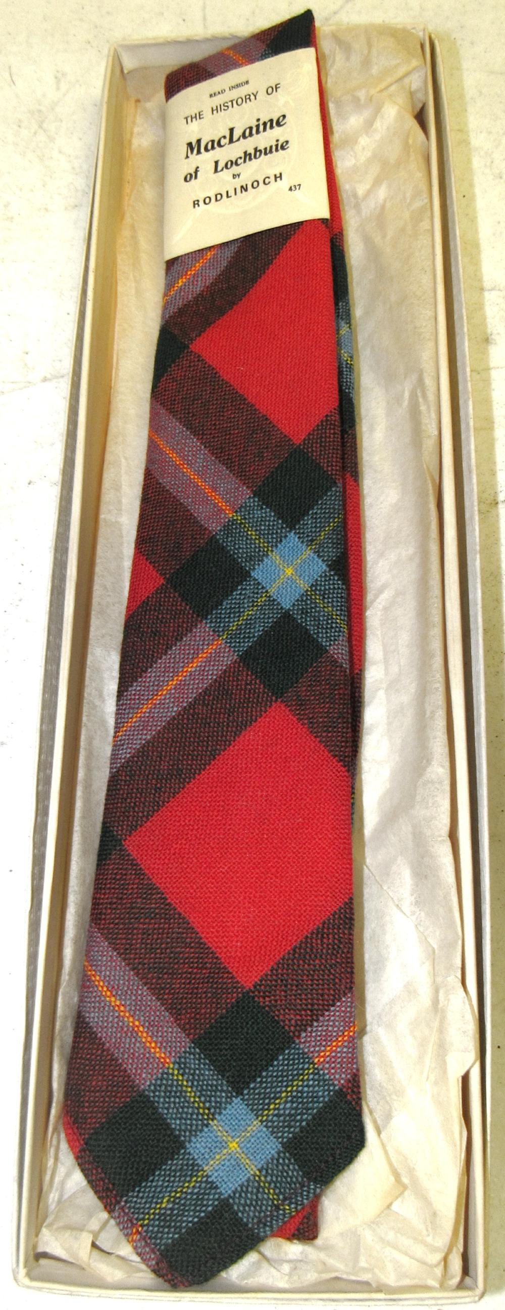 Tartan Tie Clan MacLaine of Lochbuie Scottish Wool Plaid , MIB