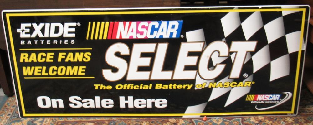 """RARE Original 60""""x24"""" Exide Batteries/Offical NASCAR Select Oil Gas Sign, EC"""