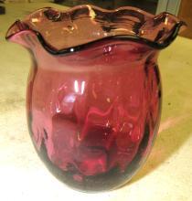 """Lot 41: Vintage Cranberry Hand Blown Vase, 3 3/4""""H, EC"""