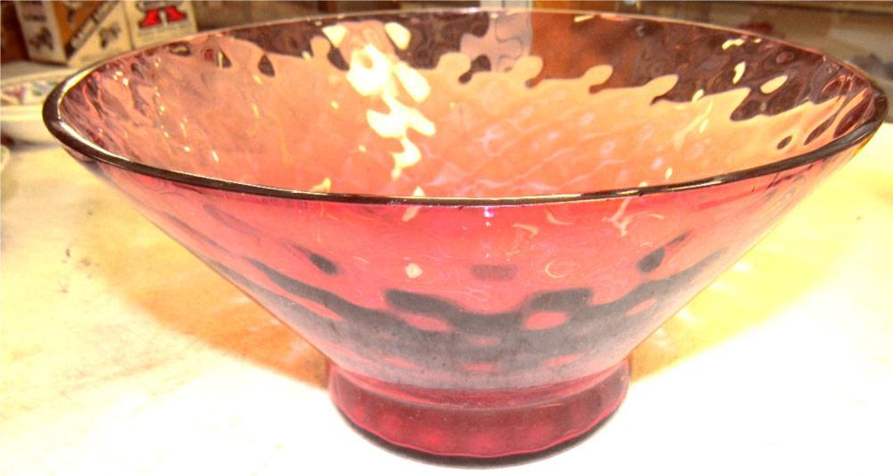 "Vintage Pilgrim Cranberry Bowl, 10"" Dia x 6""H, EC"