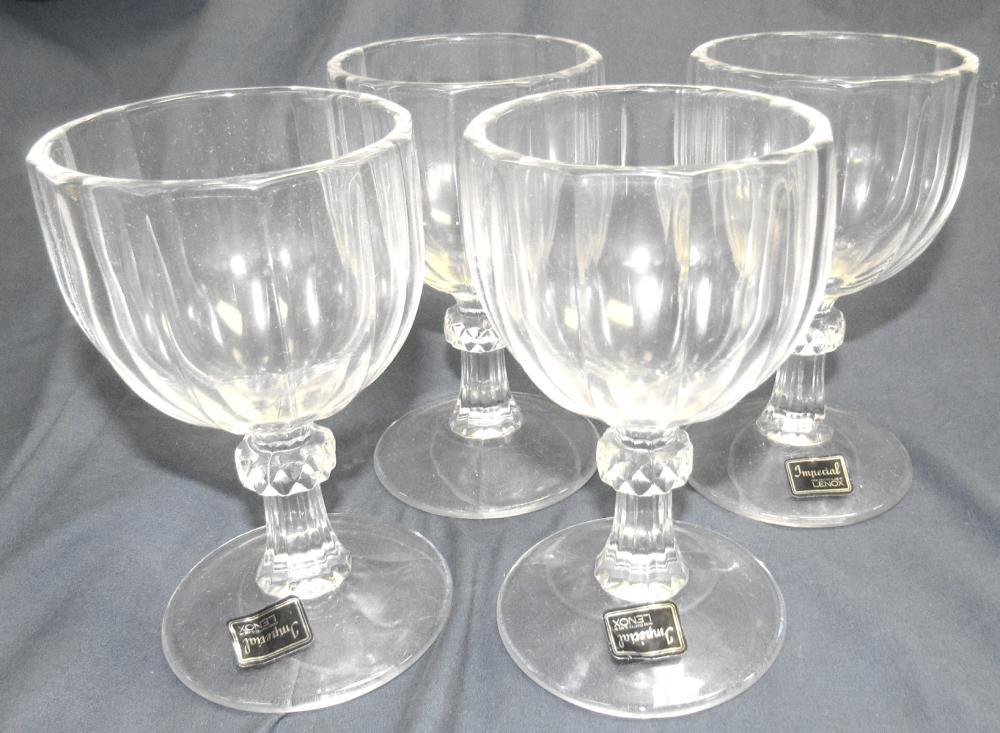 """Lot 141: Set 4 New Old Stock Imperial Lenox Crystal Water Goblets , 5 1/2""""H, EC, With original label"""