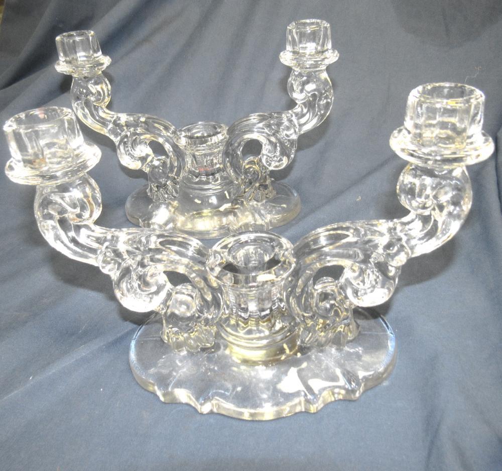 "Pair of Vintage Triple/3 Light Glass Candlestick Holders, 9""W x 4""D x 7""H, EC"